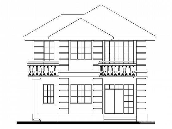 [平面图]3层度假别墅建筑方案设计CAD图纸(南入口)