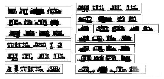 [建筑方案图]十三款俄式别墅外立面建筑方案设计CAD图纸