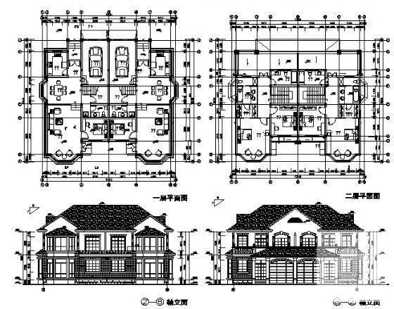 双拼别墅建筑设计图 - 1