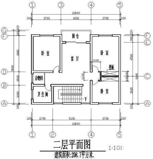 农村二层别墅建筑 - 1