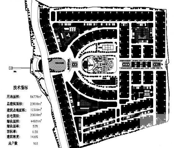[小区规划总图]8.5公顷低层住宅楼小区规划建筑dwg格式CAD图纸