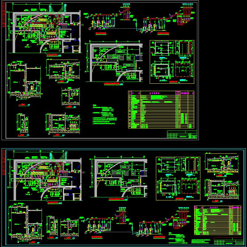地下室泵房大样详图cad设计图纸,剖面图和预留套管平面图