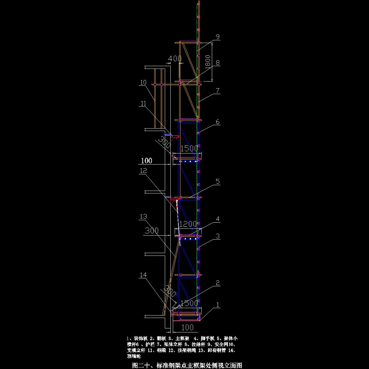 图二十、标准点主框架侧视立面图.dwg