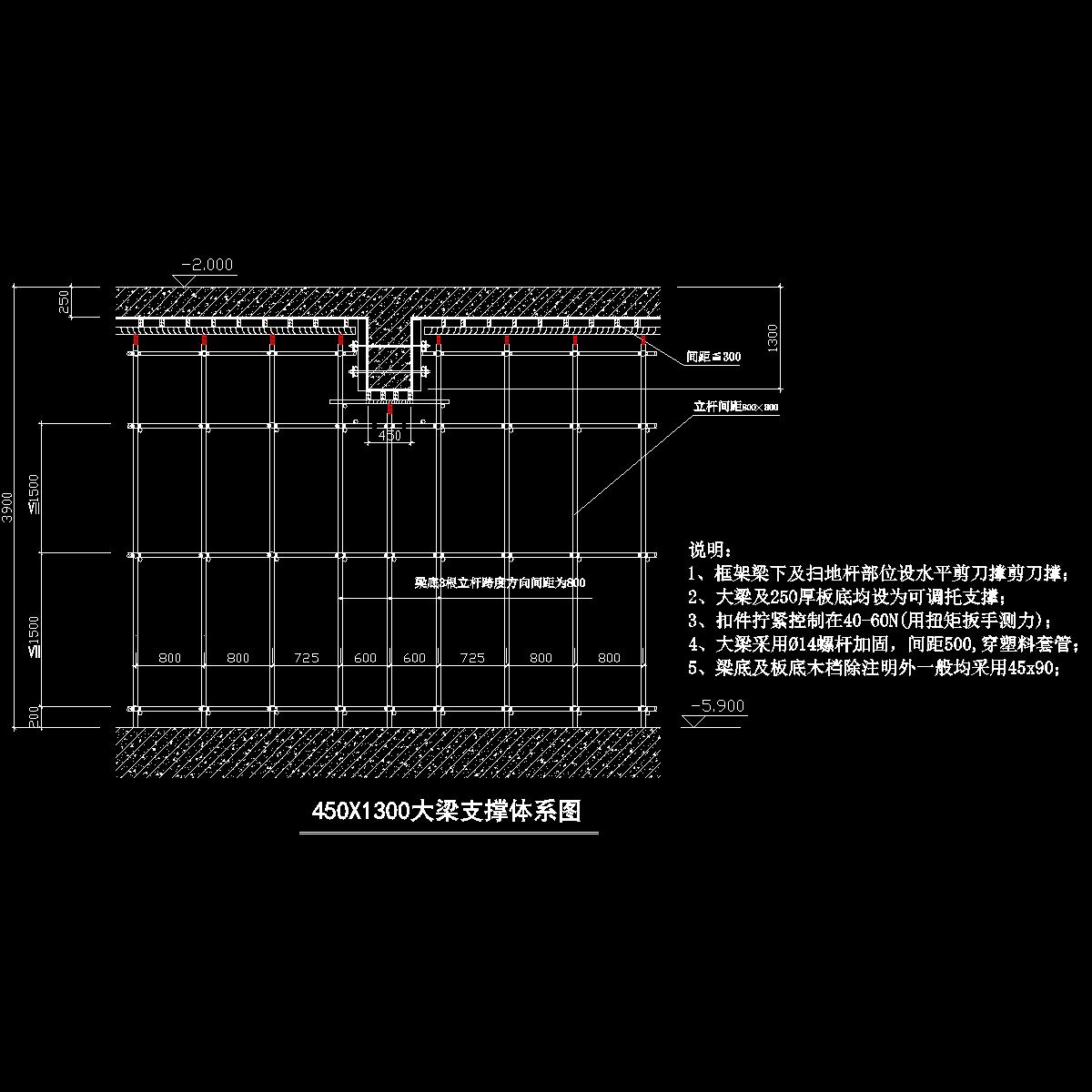 450x1300梁及250板高大模板支撑体系图.dwg