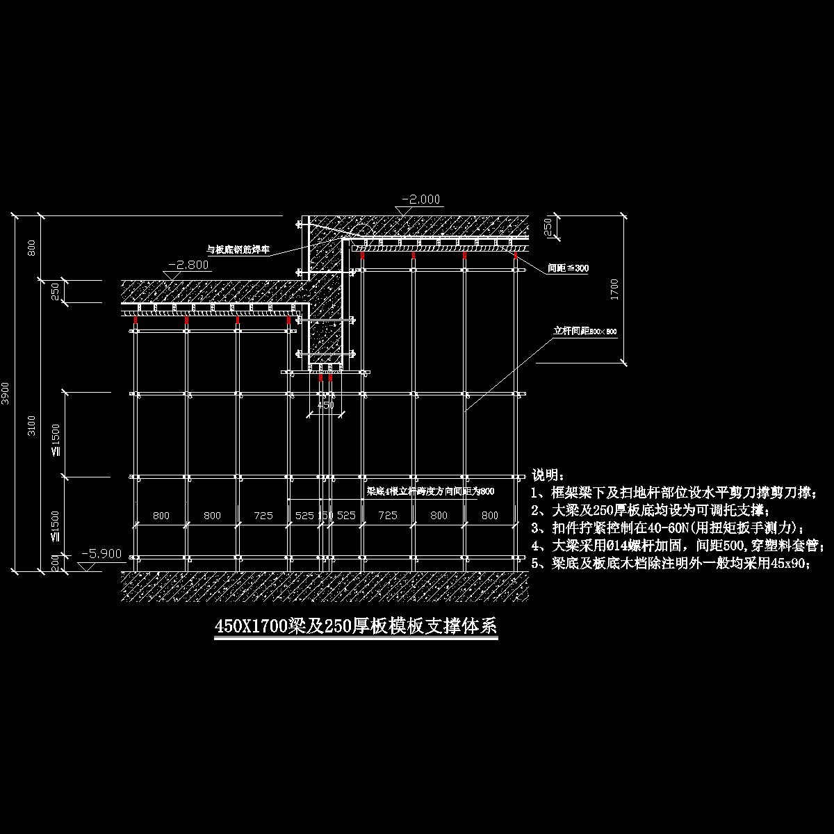 450x1700梁及250板高低跨处高大模板支撑体系图.dwg