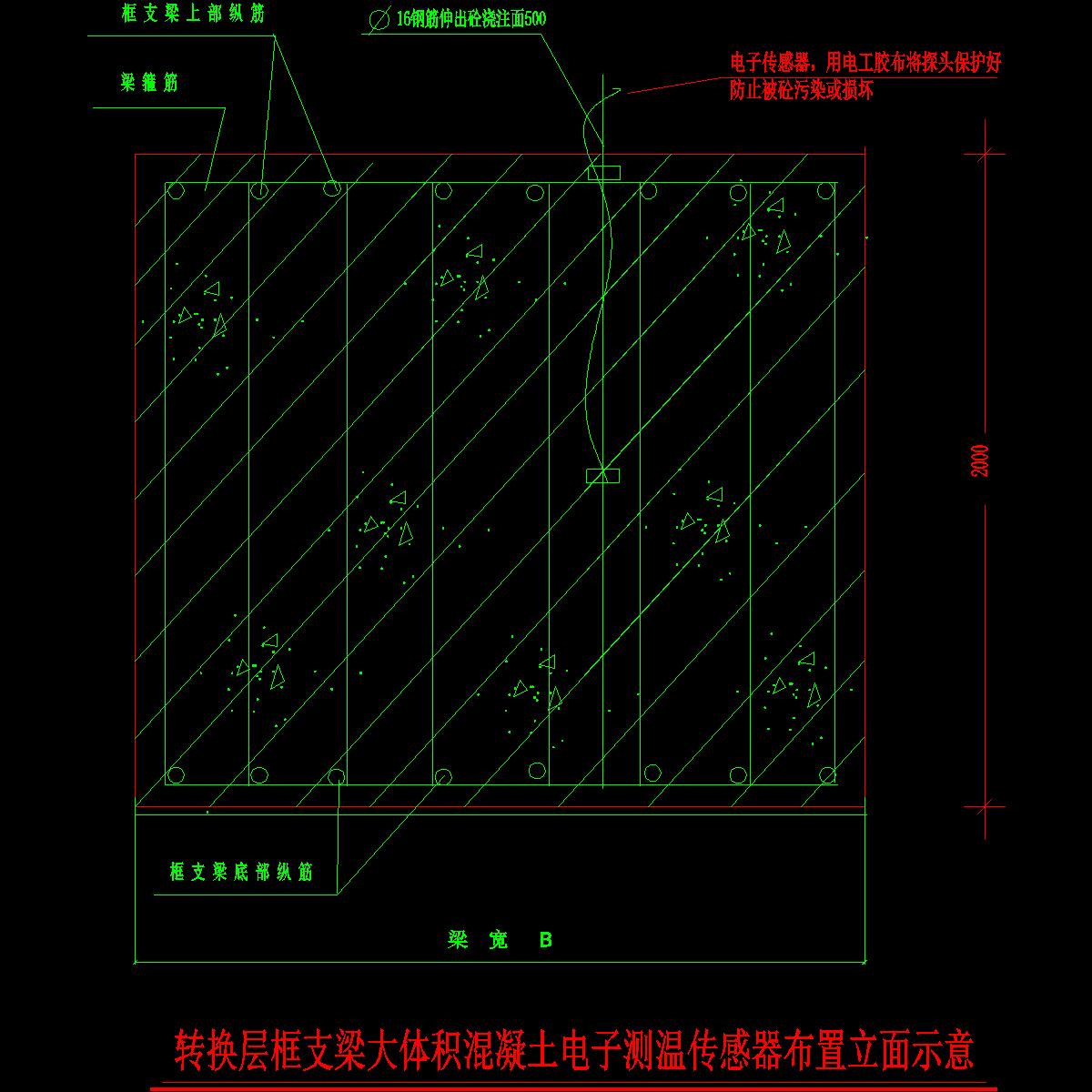 转换层大梁电子测温仪、传感器布置示意.dwg